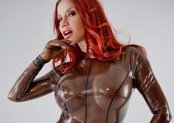 Bodysuit Breasts Female Gloves Latex Navel Iwank 1